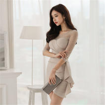 Dress Summer 2021 Apricot, black S,M,L,XL,2XL Short skirt singleton  elbow sleeve commute Crew neck Solid color Socket One pace skirt 18-24 years old Other / other Korean version Splicing 51% (inclusive) - 70% (inclusive) cotton