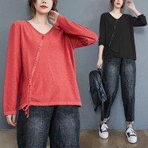 Women's large Spring 2020, winter 2020, autumn 2020 Black, brick red One size fits all [recommended 90-170 kg] T-shirt singleton  commute easy moderate Socket Long sleeves Solid color literature V-neck routine other routine Other / other 81% (inclusive) - 90% (inclusive)