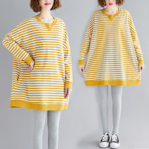 Women's large Spring 2020 Yellow and white stripes One size fits all [110-220 kg recommended] Sweater / sweater singleton  commute easy moderate Socket Long sleeves stripe literature Medium length cotton 7510# Other / other Medium length