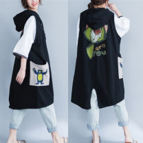 Women's large Summer 2020, spring 2020 black One size fits all Vest singleton  commute easy moderate Cardigan Short sleeve Cartoon animation Korean version Hood Medium length cotton printing and dyeing Other / other 25-29 years old