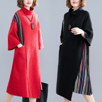 Women's large Winter 2019, spring 2019, autumn 2019 Red, black L [recommended 90-130 kg], XL [recommended 130-170 kg] Dress singleton  commute easy thickening Socket Nine point sleeve literature High collar Medium length Other / other Medium length