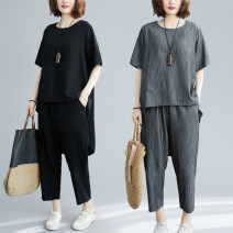 Women's large Summer 2021 One size fits all [recommended 100-175 kg] trousers Two piece set commute easy moderate Socket Short sleeve Solid color literature Crew neck routine Three dimensional cutting routine Other / other Cropped Trousers