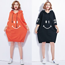 Women's large Summer of 2019 Orange, black One size fits all [110-240 Jin] Dress singleton  commute easy moderate Socket Short sleeve other Korean version Medium length cotton printing and dyeing Other / other Medium length