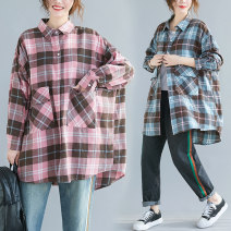 Women's large Autumn 2020 Pink, green, blue One size fits all [110-220 kg recommended] shirt singleton  commute easy moderate Cardigan Long sleeves lattice literature Polo collar Medium length cotton Three dimensional cutting shirt sleeve Other / other pocket 71% (inclusive) - 80% (inclusive)