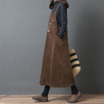 Women's large Winter 2020, autumn 2020 Black, brown M [90-110 Jin], l [110-125 Jin], XL [125-140 Jin], XXL [140-165 Jin], 3XL [160-200 Jin] Dress singleton  commute easy moderate Socket Sleeveless Solid color Korean version Medium length cotton Other / other 25-29 years old pocket 96% and above other
