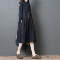 Women's large Autumn of 2019 Black, Navy M [suggested 90-110 kg], l [suggested 110-125 kg], XL [suggested 125-140 kg], XXL [suggested 140-170 kg] Dress singleton  commute easy Cardigan Long sleeves other Korean version other Medium length cotton routine Other / other 25-29 years old pocket longuette