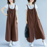 Women's large Summer of 2019, spring of 2019 coffee Large average size [100-200kg] trousers singleton  commute easy moderate Solid color Korean version hemp Other / other 31% (inclusive) - 50% (inclusive) Ninth pants straps