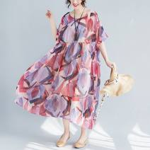 Women's large Summer 2021 rose red One size fits all [110-230 Jin] Dress singleton  commute easy thin Socket Short sleeve Decor literature Crew neck Medium length printing and dyeing routine Other / other 51% (inclusive) - 70% (inclusive) longuette Princess Dress