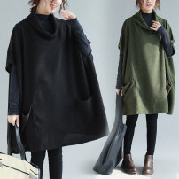 Women's large Autumn of 2018 Army green, black Knitwear / cardigan singleton  commute easy thickening Socket elbow sleeve Solid color literature High collar Medium length Three dimensional cutting other Other / other 25-29 years old pocket