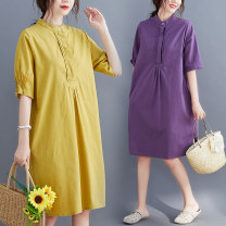 Women's large Summer 2020 Purple, yellow L [recommended 100-145 kg], XL [recommended 145-190 kg] Dress singleton  commute easy thin Socket Short sleeve Solid color literature Crew neck Medium length Cotton, hemp Wrap sleeves Other / other Button 51% (inclusive) - 70% (inclusive) Medium length