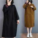 Women's large Autumn 2020 M [suggested 100-130 kg], l [suggested 130-150 kg], XL [suggested 150-170 kg], XXL [suggested 170-210 kg] Dress singleton  commute easy moderate Socket Long sleeves Solid color Korean version Hood Medium length cotton routine Other / other 35-39 years old Medium length