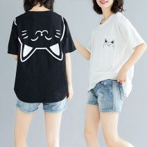 Women's large Summer 2020 White, black Large L [100-150 Jin], large XL [150-200 Jin] T-shirt singleton  commute easy thin Socket Short sleeve Cartoon animation Korean version Crew neck other printing and dyeing Other / other