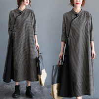 Women's large Autumn 2020 lattice M [suggested 90-110 kg], l [suggested 110-130 kg], XL [suggested 130-150 kg], XXL [suggested 150-185 kg] Dress singleton  commute easy Long sleeves lattice literature stand collar Medium length hemp routine Other / other 71% (inclusive) - 80% (inclusive) longuette