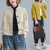 Women's large Autumn of 2019 Khaki, yellow M [suggested 100-120 kg], l [suggested 120-140 kg], XL [suggested 140-160 kg], XXL [suggested 160-200 kg] Jacket / jacket singleton  commute easy thickening Cardigan Long sleeves Solid color Korean version routine cotton routine Other / other zipper