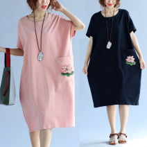 Dress Summer of 2018 Black, dark pink XL [100-170 kg], XXL [170-230 kg] singleton  Short sleeve commute Crew neck Loose waist Solid color Socket other routine 35-39 years old Type O Other / other literature cotton