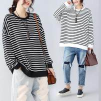 Women's large Autumn of 2019 White, black One size fits all [110-220 kg recommended] Sweater / sweater singleton  commute easy moderate Socket Long sleeves stripe Simplicity Crew neck routine cotton routine Other / other