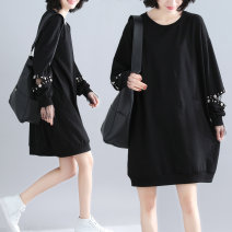 Women's large Autumn 2020 black M [suggested 100-130 kg], l [suggested 130-150 kg], XL [suggested 150-170 kg], XXL [suggested 170-210 kg] Dress singleton  commute easy Socket Long sleeves Solid color Korean version Crew neck cotton Collage routine Other / other Nail bead Middle-skirt Hollowing out