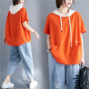 Women's large Summer 2021 Orange and white Large size average size [100-200kg recommended] T-shirt singleton  commute easy thin Socket Short sleeve letter literature Hood routine routine Other / other