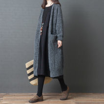 Women's large Autumn of 2018, winter of 2018 grey Large average size [100-200kg] sweater singleton  easy Cardigan Long sleeves other other Medium length routine Other / other 96% and above