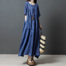 Dress Summer 2020 Red, blue M [100-120 Jin], l [120-140 Jin], XL [140-160 Jin], XXL [160-200 Jin] longuette singleton  elbow sleeve commute Crew neck Loose waist Solid color Socket Princess Dress routine Others 25-29 years old Other / other Korean version other hemp