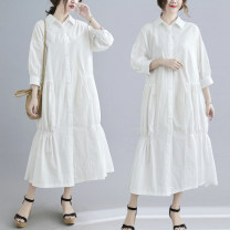 Women's large Spring 2021, summer 2021 White, black One size fits all [recommended 90-170 kg] Dress singleton  commute easy moderate Cardigan three quarter sleeve Solid color literature Polo collar Medium length Three dimensional cutting shirt sleeve Other / other 96% and above longuette