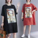 Women's large literature routine Summer 2021 commute singleton  Dress Medium and long term Short sleeve moderate Cartoon animation Crew neck Condom easy Other / other printing and dyeing Medium and long term Red, black