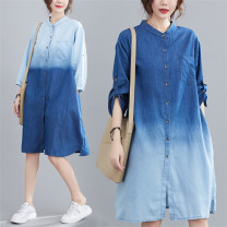 Women's large Summer 2020, autumn 2020 Top light blue, bottom deep, top dark blue, bottom light Large size average size [100-180 Jin recommended] shirt singleton  commute easy moderate Cardigan Nine point sleeve Solid color Korean version stand collar Medium length cotton Make old routine pocket