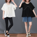 Lace / Chiffon Summer 2020 White, black L [recommended 100-130 kg], XL [recommended 130-150 kg], XXL [recommended 150-170 kg], XXXL [recommended 170-200 kg] Short sleeve commute Socket singleton  easy Regular Crew neck Solid color pagoda sleeve Other / other literature polyester fiber
