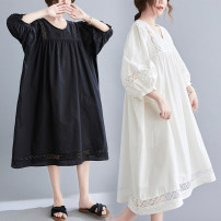 Women's large Summer 2021 White, black One size fits all [recommended 110-210 kg] Dress singleton  commute easy thin Socket Short sleeve Solid color literature V-neck Medium length cotton Three dimensional cutting bishop sleeve Other / other Three dimensional decoration Medium length