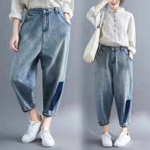 Jeans Spring 2020 blue M [suggested 100-115 kg], l [suggested 115-130 kg], XL [suggested 130-145 kg], XXL [suggested 145-160 kg], XXXL [suggested 160-175 kg] Ninth pants Natural waist routine Cotton elastic denim light colour Other / other