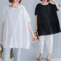 Women's large Summer of 2019 White, black One size fits all [110-230 Jin] T-shirt singleton  commute easy moderate Socket Short sleeve stripe literature Crew neck Medium length Cotton, hemp printing and dyeing routine Other / other