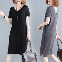 Women's large Summer 2020 black XL [90-120 Jin], XXL [120-140 Jin], 3XL [140-170 Jin], 4XL [170-210 Jin] Dress singleton  commute easy thin Socket Short sleeve Solid color literature V-neck Medium length cotton Other / other Middle-skirt