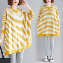 Women's large Spring 2020, winter 2020, autumn 2020 Yellow and white stripes Large size average size [100-200kg recommended] T-shirt singleton  commute easy moderate Socket Long sleeves stripe literature Crew neck Medium length cotton routine Other / other