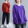 Women's large Spring 2021 Purple, orange Large size average size [100-200kg recommended] Sweater / sweater singleton  commute easy thick Socket Long sleeves Solid color Korean version Crew neck routine cotton Collage routine Other / other 81% (inclusive) - 90% (inclusive)