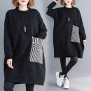 Women's large Winter 2020 black L [recommended 100-160 kg], XL [recommended 160-210 kg] Sweater / sweater singleton  commute easy thickening Socket Long sleeves stripe literature Crew neck Medium length cotton Collage routine Other / other 51% (inclusive) - 70% (inclusive) Medium length