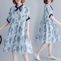Women's large Summer 2020 blue L [100-150 kg], XXL [150-200 kg] Dress singleton  commute easy thin Socket Short sleeve literature stand collar Medium length polyester printing and dyeing Pull buckle Middle-skirt