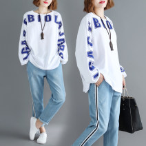 Women's large Autumn 2020, spring 2021 white One size fits all [110-240 Jin] T-shirt singleton  commute easy moderate Socket Long sleeves letter literature Crew neck routine printing and dyeing routine Other / other
