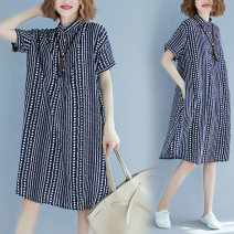 Women's large Summer 2020 Blue stripe Large average size [100-200kg] shirt singleton  commute easy moderate Cardigan Short sleeve stripe Korean version stand collar Medium length cotton printing and dyeing Other / other