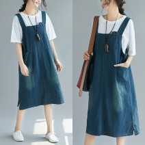 Dress Summer of 2018 Blue, black singleton  Sleeveless commute One word collar Loose waist Solid color camisole Type A Other / other literature