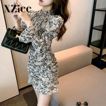 Dress Spring 2021 Apricot S M L longuette singleton  Long sleeves commute stand collar High waist Decor zipper A-line skirt other Others 18-24 years old xzi.cc Korean version Three dimensional decoration 3D with ruffle and fold stitching XZiccQL0566 More than 95% other other Other 100%