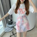 Fashion suit Summer 2021 S. M, l, average size Yellow T-shirt, white T-shirt, yellow grey skirt, blue pink skirt 18-25 years old