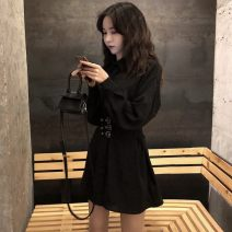 Dress Autumn 2020 black Average size Middle-skirt singleton  Long sleeves commute High waist Solid color routine 18-24 years old Type A Korean version