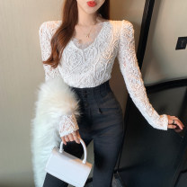Lace / Chiffon Spring 2021 White, black M, L Long sleeves commute singleton  Self cultivation have cash less than that is registered in the accounts V-neck routine 18-24 years old Lace Korean version