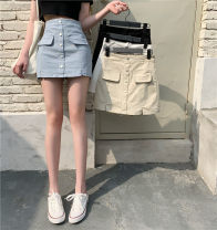 skirt Summer 2021 S,M,L Short skirt commute High waist A-line skirt Solid color Type A 18-24 years old Korean version