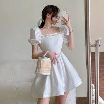 Dress Summer 2021 White, black S, M Short skirt singleton  Short sleeve commute square neck High waist Solid color A-line skirt puff sleeve 18-24 years old Type A Korean version XY