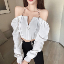 T-shirt White, black Average size Spring 2021 Long sleeves One word collar Self cultivation have cash less than that is registered in the accounts commute other 30% and below 18-24 years old Korean version
