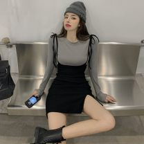 Fashion suit Spring 2021 S,M,L Grey T-shirt, black suspender skirt 18-25 years old