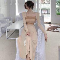 Dress Spring 2021 Apricot, black S,M,L Mid length dress singleton  Long sleeves commute square neck High waist routine 18-24 years old Korean version