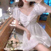 Dress Summer 2021 White, pink S,M,L Middle-skirt singleton  Short sleeve commute V-neck High waist Solid color Socket A-line skirt puff sleeve 18-24 years old Type A Frenulum other