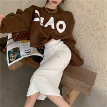 Fashion suit Spring 2021 Average size White top, coffee top, blue skirt, white skirt 18-25 years old